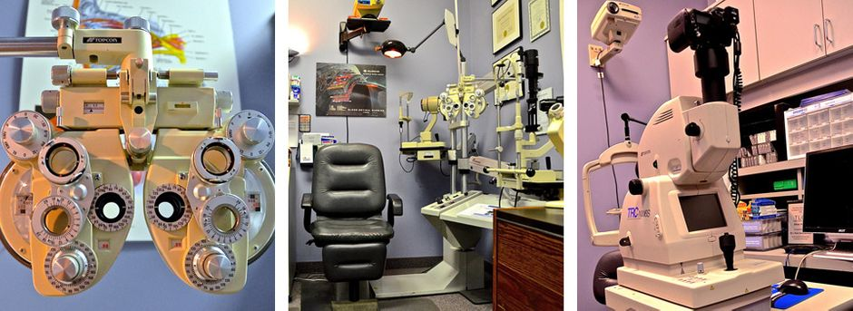 Phoropter, exam room, retinal camera